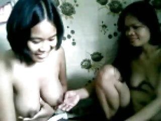Two overweight filipina gals showing their whoppers nude on webcam