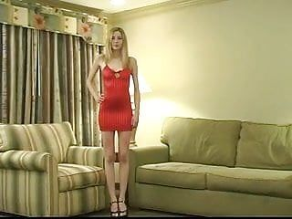 Nice-looking youthful blond with merry billibongs widens her fur pie and rides a sybian