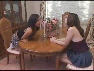 Butt licking lesbian babes - dinner table
