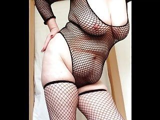 Hot granny fishnets slapping large love melons and cunt