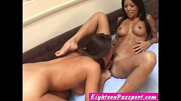 Love tunnel eating exotic breasty lesbos