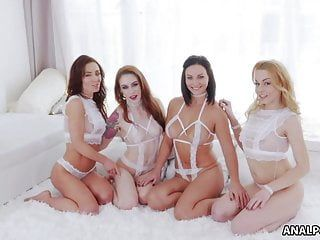 Four babes expanding their butts with toys