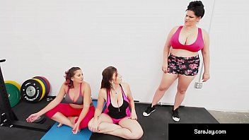 Breasty milf sara jay, gia love, angelina castro do some lesbo yoga